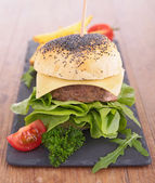 Hambúrguer e batatas fritas — Foto Stock