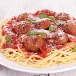 Spaghetti with meatballs and tomato sauce — Stock Photo #36193737