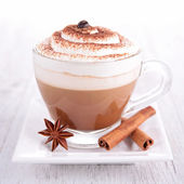 Coffee or chocolate with cream — Stock Photo