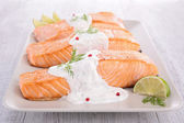 Salmon with cream and dill — Foto de Stock