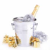 Champagne bottle in bucket — Stock Photo