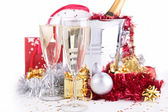 Champagne glasses and decoration — Stock Photo