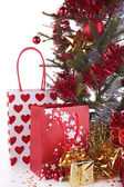 Decorated christmas tree and gifts — Stock Photo