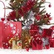 Stock Photo: Christmas fir and presents