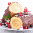 Stock Photo: Yule log, swiss roll