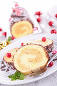 Yule log, swiss roll — Stock Photo
