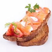 Bread and salmon — Stock Photo