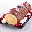 Stock Photo: Swiss roll, yule log