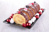 Swiss roll, yule log — Stock Photo