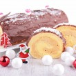 Christmas pastry, Yule log — Stock Photo