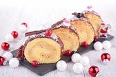 Christmas pastry, Yule log — Stock Photo