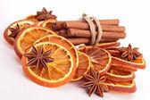 Cinnamon,anise and dried orange — Stock Photo