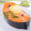 Grilled salmon steak — Stock Photo #37626357