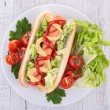 Stock Photo: Hotdog and salad