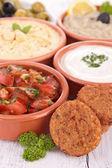 Hummus, falafel and others mezze — Stock Photo