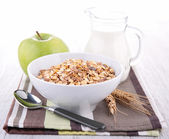 Cereals and milk — Stock Photo