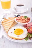 Egg, toast and beans — Stock Photo