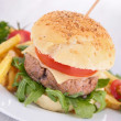 Stock Photo: Hamburger and french fries
