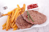 French fries and beef steak — Stock Photo