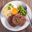 Beefsteak, mashed potatoes and pea — Stockfoto #41992955