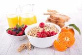 Muesli,fruits and orange juice — Stock Photo