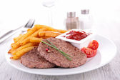 Beefsteak and french fries — Foto Stock