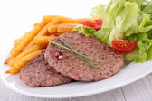 Beefsteak and french fries — Stock Photo