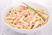 Pasta with cream and salmon — ストック写真