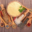 Various cereals and spices seclection — Stock Photo #42969603
