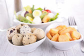 Egg,crouton and salad — Stock Photo