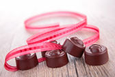 Chocolate and ribbon — Foto Stock