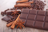 Chocolate and spices — 图库照片