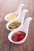 Ketchup,pesto and mustard — Stock Photo