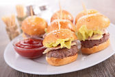 Finger food- hamburger — Stock Photo