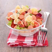 Pasta salad and small sausages — Stock Photo
