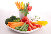 Vegetable stick and dip — Stock Photo