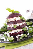 Beet, feta cheese and basil — Foto de Stock