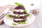 Beet, feta cheese and basil — Stock Photo