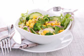 Salad with corn and cucumber — Stock Photo
