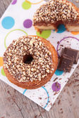 Donuts and chocolate — Stock Photo