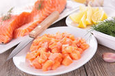 Raw salmon and ingredient — Stock Photo