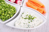 Vegetable and dip — Stock Photo