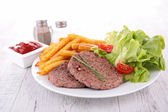 Beefsteak and fries — Stock Photo