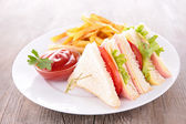 Sandwich et frites de français — Photo