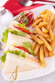 Sandwich and french fries — Stock Photo