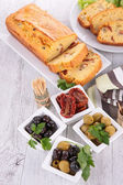 Vegetable bread and antipasto — Stock Photo