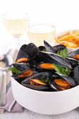 Mussel and parsley — Stock Photo