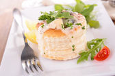 Puff pastry filling with mushroom and chicken — Stock Photo