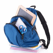 Backpack with school supplies — Foto de Stock