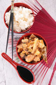 Asian cuisine with rice and chicken — Stock Photo